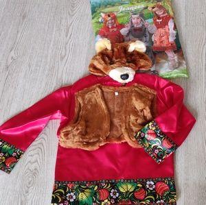 Russian Bear Kids Costume (west, shirt, bear 🐻 head) for 4-6 years